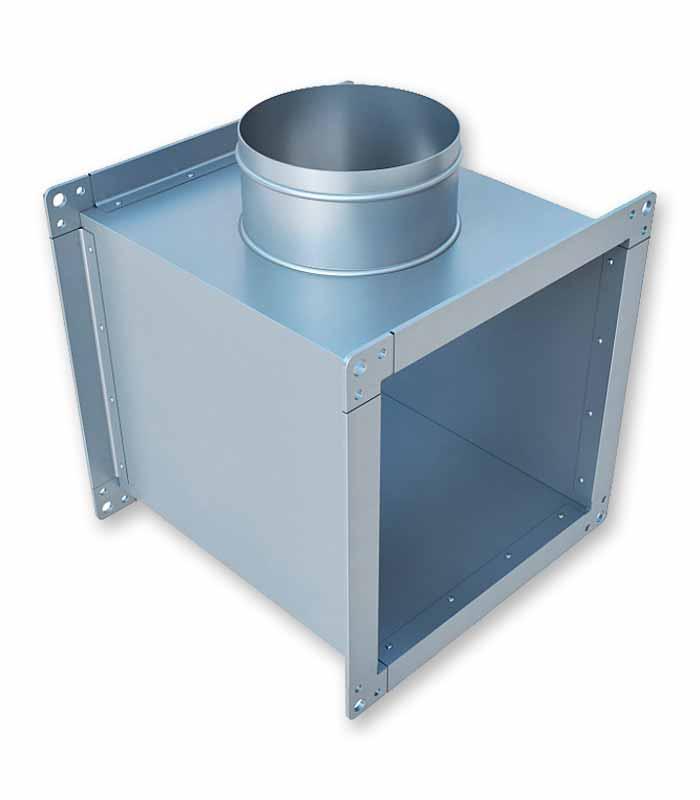 тройник прямоугольный с круглой врезкой для воздуховода