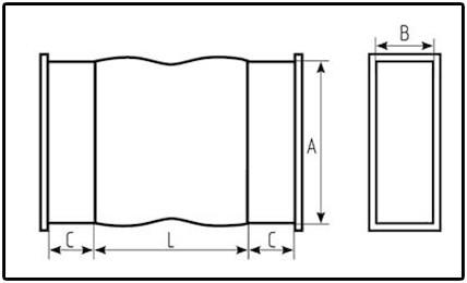 чертеж прямоугольной гибкой вставки